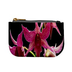 Orchid Flower Branch Pink Exotic Black Mini Coin Purses by Jojostore