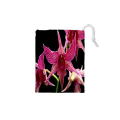Orchid Flower Branch Pink Exotic Black Drawstring Pouches (xs)  by Jojostore