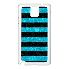 Stripes2 Black Marble & Turquoise Marble Samsung Galaxy Note 3 N9005 Case (white) by trendistuff