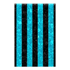 Stripes1 Black Marble & Turquoise Marble Shower Curtain 48  X 72  (small) by trendistuff