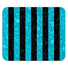 Stripes1 Black Marble & Turquoise Marble Double Sided Flano Blanket (small) by trendistuff