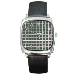 Pink And Green Tiles On Dark Green Square Metal Watch by Jojostore