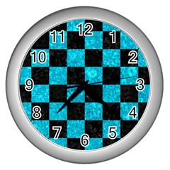 Square1 Black Marble & Turquoise Marble Wall Clock (silver) by trendistuff