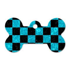 Square1 Black Marble & Turquoise Marble Dog Tag Bone (one Side) by trendistuff