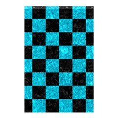 Square1 Black Marble & Turquoise Marble Shower Curtain 48  X 72  (small) by trendistuff