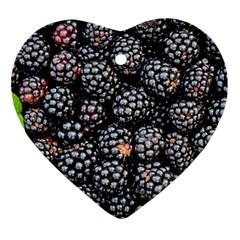 Blackberries Background Black Dark Heart Ornament (2 Sides) by Amaryn4rt