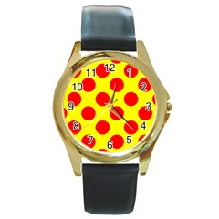 Red Circle Yellow Round Gold Metal Watch by Jojostore