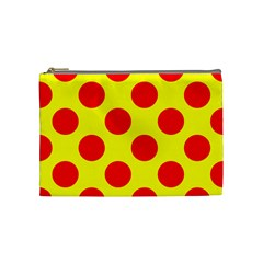 Red Circle Yellow Cosmetic Bag (medium)  by Jojostore