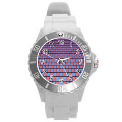 Red Blue Round Plastic Sport Watch (l) by Jojostore