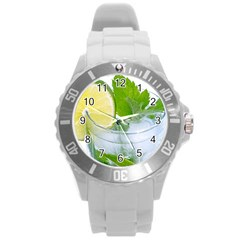Cold Drink Lime Drink Cocktail Round Plastic Sport Watch (l)