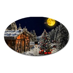 Christmas Landscape Oval Magnet by Amaryn4rt