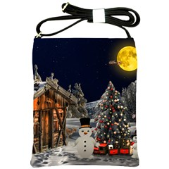 Christmas Landscape Shoulder Sling Bags by Amaryn4rt