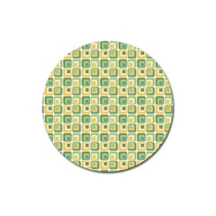 Square Green Yellow Magnet 3  (round) by Jojostore