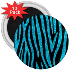 Skin4 Black Marble & Turquoise Marble (r) 3  Magnet (10 Pack) by trendistuff