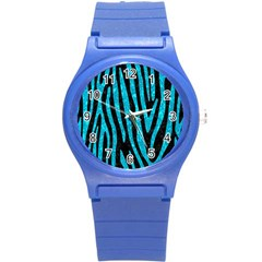 Skin4 Black Marble & Turquoise Marble (r) Round Plastic Sport Watch (s) by trendistuff