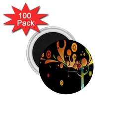 Tree Circle Orange Black 1 75  Magnets (100 Pack)  by Jojostore