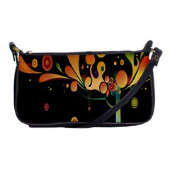 Tree Circle Orange Black Shoulder Clutch Bags by Jojostore