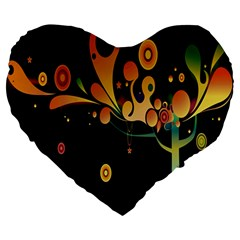 Tree Circle Orange Black Large 19  Premium Heart Shape Cushions by Jojostore