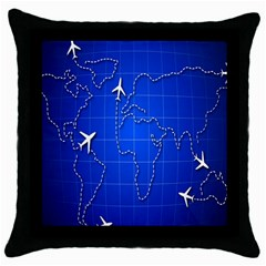 Unique Air Travel World Map Blue Sky Throw Pillow Case (black) by Jojostore