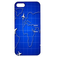 Unique Air Travel World Map Blue Sky Apple Iphone 5 Hardshell Case With Stand by Jojostore