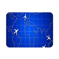 Unique Air Travel World Map Blue Sky Double Sided Flano Blanket (mini)  by Jojostore