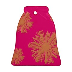 Yellow Flowers On Pink Background Pink Bell Ornament (2 Sides) by Jojostore