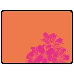 Flower Orange Pink Double Sided Fleece Blanket (large)  by Jojostore