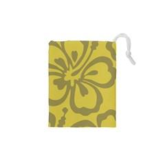 Flower Gray Yellow Drawstring Pouches (xs)  by Jojostore