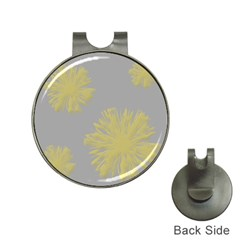 Flower Yellow Gray Hat Clips With Golf Markers by Jojostore