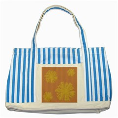 Flower Yellow Brown Striped Blue Tote Bag by Jojostore