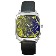 Futuristic Looking Fractal Graphic A Mesh Of Yellow And Blue Rounded Bars Square Metal Watch by Jojostore