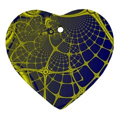 Futuristic Looking Fractal Graphic A Mesh Of Yellow And Blue Rounded Bars Heart Ornament (2 Sides) by Jojostore