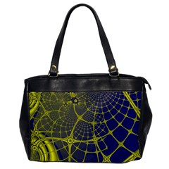 Futuristic Looking Fractal Graphic A Mesh Of Yellow And Blue Rounded Bars Office Handbags by Jojostore