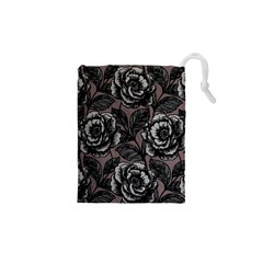 Gray Flower Rose Drawstring Pouches (XS)  by Jojostore