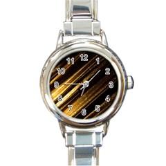 Gold Round Italian Charm Watch