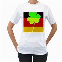 Irish German Germany Ireland Funny St Patrick Flag Women s T Shirt (white) (two Sided) by yoursparklingshop