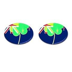 Irishshamrock New Zealand Ireland Funny St Patrick Flag Cufflinks (oval) by yoursparklingshop