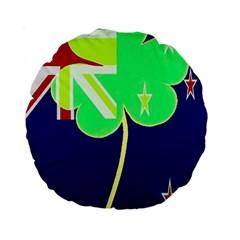 Irishshamrock New Zealand Ireland Funny St Patrick Flag Standard 15  Premium Round Cushions by yoursparklingshop
