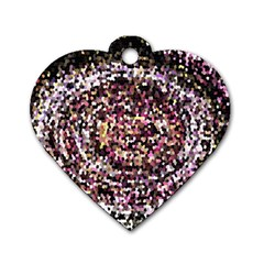 Mosaic Colorful Abstract Circular Dog Tag Heart (one Side) by Amaryn4rt
