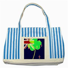 Irish Shamrock New Zealand Ireland Funny St Patrick Flag Striped Blue Tote Bag by yoursparklingshop