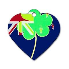 Irish Shamrock New Zealand Ireland Funny St Patrick Flag Dog Tag Heart (one Side) by yoursparklingshop