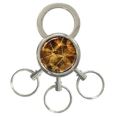 Leaves Autumn Texture Brown 3 Ring Key Chains by Amaryn4rt
