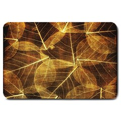 Leaves Autumn Texture Brown Large Doormat  by Amaryn4rt