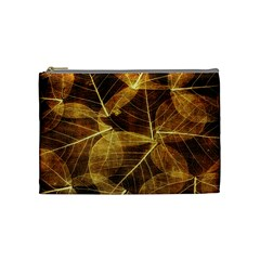 Leaves Autumn Texture Brown Cosmetic Bag (medium)  by Amaryn4rt