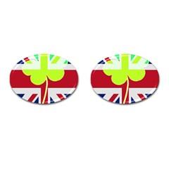 Irish British Shamrock United Kingdom Ireland Funny St  Patrick Flag Cufflinks (oval) by yoursparklingshop