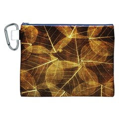 Leaves Autumn Texture Brown Canvas Cosmetic Bag (xxl) by Amaryn4rt