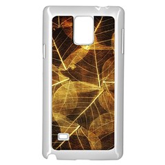 Leaves Autumn Texture Brown Samsung Galaxy Note 4 Case (White) by Amaryn4rt