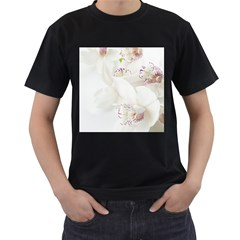 Orchids Flowers White Background Men s T Shirt (black) by Amaryn4rt