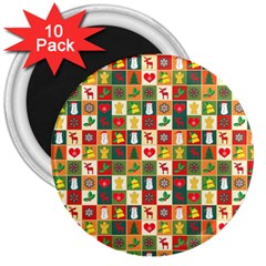 Pattern Christmas Patterns 3  Magnets (10 Pack)  by Amaryn4rt