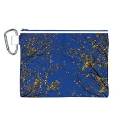 Poplar Foliage Yellow Sky Blue Canvas Cosmetic Bag (l) by Amaryn4rt